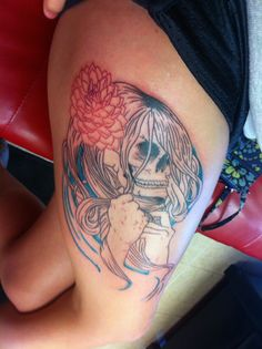 #tattoos #tattoo #scull #dahlia #hair this is on my thigh.