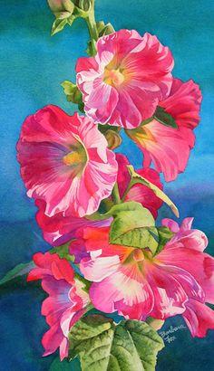 Watercolour flowers, hollyhocks.