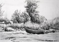 Original charcoal drawing , Boat on the beach in Art, Direct from the Artist, Drawings Charcoal Drawing, Tapestry, Boat, Black And White, Drawings, Artist, Outdoor, Free Shipping, House