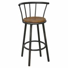 """The perfect accent to your kitchen island or home bar, this industrial-chic stool showcases an elm wood seat and slatted metal back.   Product: BarstoolConstruction Material: Elm wood and ironColor: Natural and blackFeatures: Slatted back designDimensions: 40"""" H x 14"""" Diameter"""