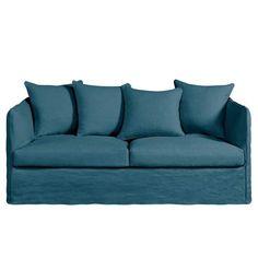 Canapé en lin bleu océanCanapé 3 pl. en lin froissé, L 182 x P 82 x H 82 cm. Néo Chiquito, AM PM, 1 590 €.
