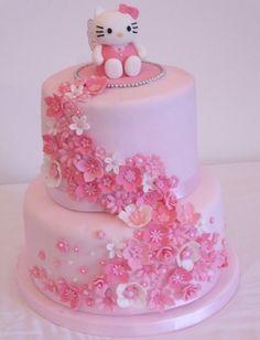 Hello Kitty Birthday Cake - Find more Hello Kitty Party Ideas Hello Kitty Torte, Bolo Da Hello Kitty, Hello Kitty Birthday Cake, Happy Birthday, Birthday Cakes, Pretty Cakes, Cute Cakes, Beautiful Cakes, Amazing Cakes