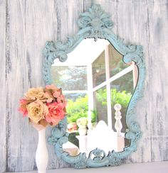 French Country Home Blue Turquoise  [ Specialtydoors.com ] #country #hardware #specialty #custom Antique Mirrors For Sale, Vintage Mirrors, French Country House, Country Chic, Country Homes, My Mirror, Wood Framed Mirror, Peach Rooms, Blue Peach