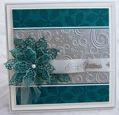 PartiCraft (Participate In Craft) Poinsetta card in teal and silver