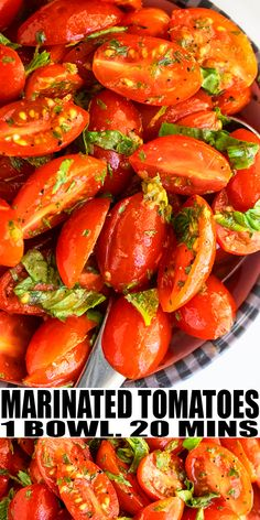 MARINATED TOMATOES RECIPE- The best, healthy, quick and easy Italian side dish or appetizer. Homemade with simple ingredients in one pot or bowl in 20 minutes. Loaded with cherry tomatoes, onions in a. Cherry Tomato Recipes, Cherry Tomato Salad, Cherry Tomatoes, Tomato Side Dishes, Italian Side Dishes, Italian Appetizers, Appetizer Recipes, Tomato Appetizers, One Pot Meals