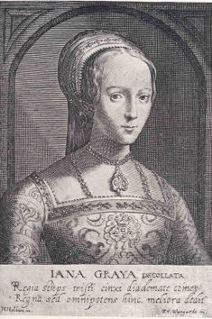 Lady Jane Grey, engraving published 1620, possibly based on an earlier painting