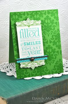 Damask Birthday Card by Dawn McVey for Papertrey Ink (June 2013)
