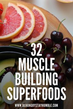 Are you struggling to find the right foods to build muscle? Are you unsure of what to eat for maximum muscle growth? Check out this article for a list of 32 muscle building superfoods that will help you gain lean mass and make your muscle building workout Nutrition Education, Proper Nutrition, Nutrition Plans, Nutrition Tips, Fitness Nutrition, Healthy Nutrition, Healthy Recipes, Holistic Nutrition, Eat Healthy