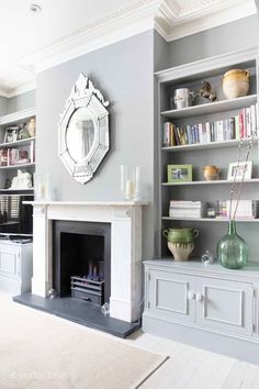 Diy built in shelves around fireplace built ins cabinets medium size of living wall units and Comfy Living Room, Modern Room, Living Room Paint, Living Room Shelves, Fireplace Design, New Living Room, Wallpaper Living Room, Living Room Grey, Victorian Living Room