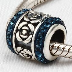 Everbling Rose Flower with Blue Austrian Crystal Authentic 925 Sterling Silver Charm Fits Pandora Chamilia Biagi Troll Beads Europen Style Bracelets  Price : $16.99 http://www.everblingjewelry.com/Everbling-Austrian-Authentic-Sterling-Bracelets/dp/B009N2G1KO