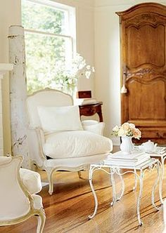 "clean lines, French country style--cabinet called a ""Bonnetiere"" I believe French Decor, French Country Decorating, White Elegance, Living Spaces, Living Room, French Country House, French Farmhouse, Country Chic, Farmhouse Decor"