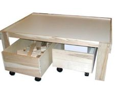 Storage Trundle for Train Table / Activity Table / Play Table, Block Storage, Toy Storage, Toy Bin, Unassembled and Unfinished