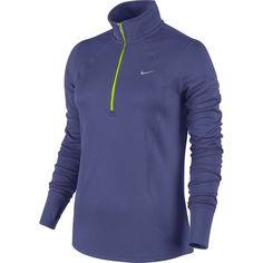 Women's Nike Racer Dri-FIT Half-Zip Running Top ($45) ❤ liked on Polyvore featuring activewear, activewear tops, drk purple, blue pullover, half zip pullover, 1/2 zip pullover, nike and dri fit pullover