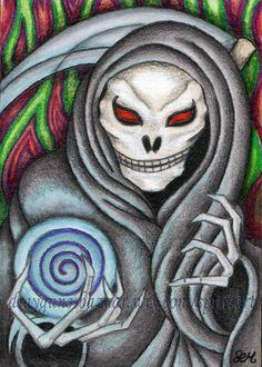 #ACEO Original #Art #Halloween Death #Reaper Scythe #Fantasy Illustration SMcNeill #IllustrationArt