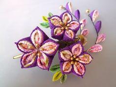 minne(ミンネ)| 渋紫 桔梗のクリップ髪飾り*2本下がり付き (つまみ細工)