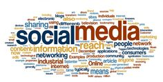 Social media in words created from people using nets to reach the zero distance in the world