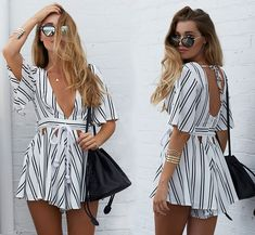 striped romper playsuit brand new. says large but definitely fits a medium best. i am a size 10 and its too small. i think it would probably fit a size best. not nasty gal. Nasty Gal Other Fall Fashion Outfits, Look Fashion, Cute Fashion, Popular Outfits, Trendy Outfits, Cute Outfits, Cute Dresses, Casual Dresses, Short Dresses