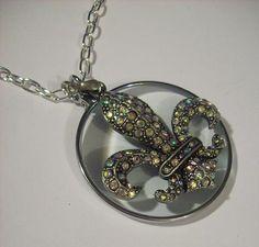 Silver AB Crystal Rhinestone Fleur De Lis Magnifying Glass Necklace | Jenstardesigns - Jewelry on ArtFire