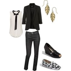 black & white button up, black blazer, black pants and pumps or flats