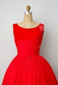 Red Velvet Party Dress Circa 1940s