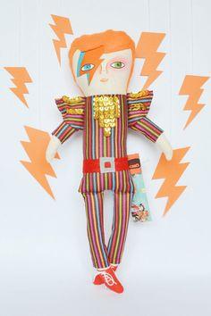 David Bowie doll / Aladdin Sane / Cloth doll / Handmade art doll / stuffed toys / 13.8 x 5.9 inch / rockstar, orange and sequins