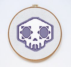 Overwatch Sombra Skull Spray Counted Cross Stitch Pattern