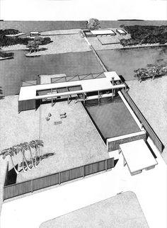 1947 Finney House (unbuilt) | Architects: Twitchell + Rudolph | Siesta Key, FL