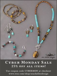 Save 25% off all jewelry from the Sea Chelles Design etsy shop! Use coupon code CYBERMON at checkout! http://www.etsy.com/shop/seachellesdesign