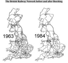 British Railways train network before and after Beeching Axe Railway Line Map, Railway Posters, Uk History, British History, Modern History, British Rail, British Isles, Map Of Britain, Old Train Station