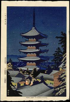 19152 - Asano Takeji: Moon Light In Yasaka Pagoda