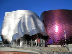 Frank Gehry museum in Seattle amazing architecture at the Experience Music Project- a music museum. City Architecture, Futuristic Architecture, Beautiful Architecture, Contemporary Architecture, Creative Architecture, Frank Gehry, Seattle Photography, Music Museum, Metal Cladding