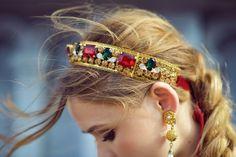 Kayture - Kristina Bazan - Dolce Vita Article - Wearing Dolce and Gabbana, vintage Prada and Jimmy Choo shoes. Bridal Hair Accessories, Fashion Accessories, Bijou Box, Balenciaga Handbags, Dolce Gabbana, Cersei Lannister, Hair Jewelry, Headbands, Bling