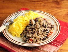 Gallo pinto (Costa Rican black beans and rice), with scrambled eggs for breakfast.