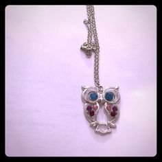 Long owl necklace The necklace is long and the length is 32 inch . Is in silver color . The owl has light blue eyes and dark pink and dark red and light pink on the body  Jewelry Necklaces