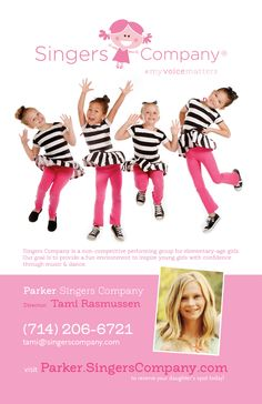 Singers Company is a non-competitive performing group for young girls. The goal for children in the program is to build confidence in a fun environment through music and dance.  We are currently open for enrollment for our Spring semester.  We are currently offering your first 2 classes free!  Mention this ad and you will receive the 1st 2 classes free!  (offer only valid at Parker location)  Parker Singers Company  http://parker.singerscom