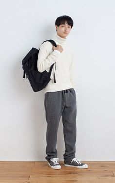 MUJI | LESS ITCHINESS WASHABLE MIDDLE GAUGE TURTLE NECK SWEATER | OGC V NECK L/S T SHIRT | RECLAIMED WOOL MIXED EASY TROUSERS