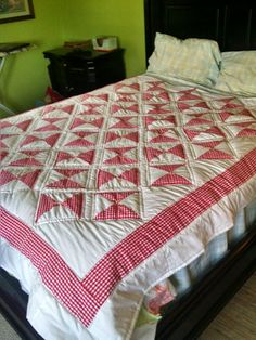 Gingham checked red and white quilt