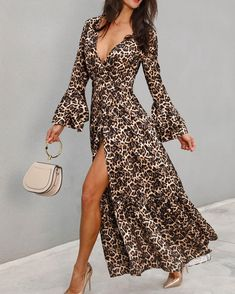 Bell Sleeve Leopard Belted Wrap Blouse New Arrival Bikinis, Jumpsuits, Dresses, Tops, High Heels on Sale. Refresh Your Picks Now. Bridesmaid Dresses Canada, Look Boho, Floral Sundress, Wrap Blouse, Womens Fashion Online, Pattern Fashion, Fashion Prints, Blouses For Women, Ladies Blouses
