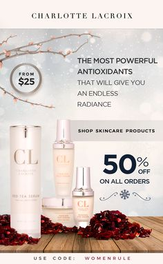 CHRISTMAS SALE: GET 50% OFF EVERYTHING! Your daily defense with Charlotte Lacroix Red Tea collection, starting at $25! Designed for women over 18 years old www.charlottelacroix.com