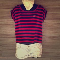 Hollister red and navy scoop neck tee Perfect condition. Navy and red stripes. Cute pocket on front with cuffed sleeves. 60% cotton 40% modal. Hollister Tops