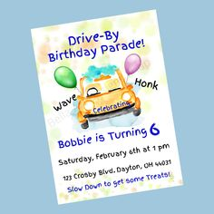 Personalized Kids Drive-By Parade Birthday Invitation - Boys Girls Printable Birthday Invite - Digital Download Custom Baby Shower Invitations, Printable Birthday Invitations, Personalized Invitations, Childrens Wall Art, Baby Wall Art, Pattern Paper, Special Day, Color Splash, Boys