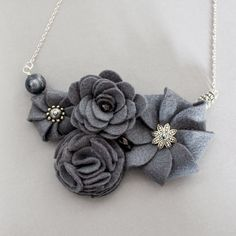 Nix - slate grey felt necklace with metallic beads and accents and with sterling silver chain