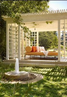Garden design with a pergola or gazebo is more functional, beautiful and comfortable. Creative and attractive pergolas and gazebos have many advantages. Outdoor Rooms, Outdoor Gardens, Outdoor Living, Outdoor Decor, Outdoor Daybed, Outdoor Ideas, Outdoor Privacy, Outdoor Yoga, Outdoor Furniture