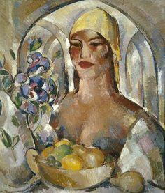 1925 John Duncan Fergusson (Scottish artist, 1874-1961) In the Patio Margaret Morris Fergusson