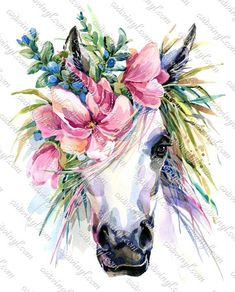 Photo about Watercolor unicorn illustration. White horse in flower wreath. Illustration of horn, magic, fairy - 94896058 Watercolor Unicorn, Unicorn Painting, Unicorn Art, Diy Painting, Watercolor Paintings, Watercolor Images, Magical Unicorn, Horse Watercolour, Watercolor Flower Wreath