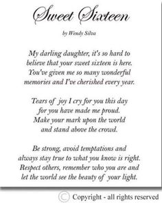 Birth Day QUOTATION – Image : Quotes about Birthday – Description Sweet Sixteen Birthday Quotes Happy Sweet Birthday Poems Poems Sharing is Caring – Hey can you Share this Quote ! Funny Birthday Poems, Sweet Birthday Quotes, Happy Birthday Kind, Sister Birthday Quotes, Sweet 16 Birthday, Sister Quotes, Girl Birthday, Daughter Quotes, Birthday Ideas