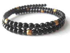 Gemstone Bracelet Black Agate Beaded Memory Wrap by IyanaDesigns