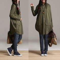 Irregular army green cotton longsleeved shirt / by dreamyil, $118.00