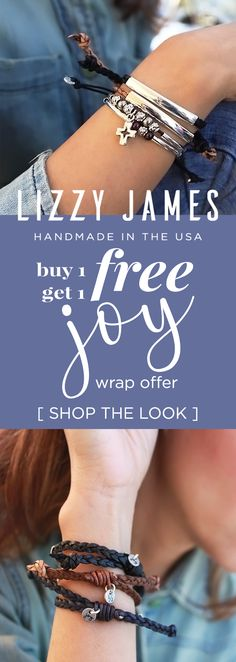 FREE & NEW JOY Bracelet! Ft. the latest collection from Lizzy James jewelry in 2018 - stylish, stackable and adjustable leather bracelets. CLICK the link to learn more. Proudly handcrafted in the USA.
