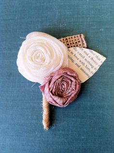 Two Flower Vintage Fabric Boutonniere. $6.50, via Etsy.